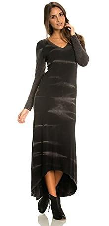 Elan Women's Black Gothic Tie Dye Maxi Dress with Hi-Low Hemline
