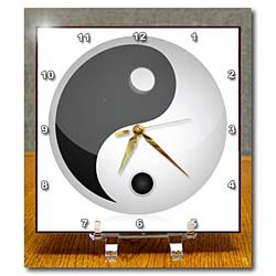 Black and White Yin and Yang Sign - 6x6 Desk Clock