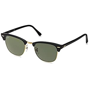 Ray-Ban Clubmaster Classic Sunglasses, Black/Green Classic G-15 Lens, 51