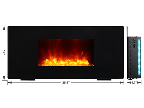 PuraFlame Galena Black 36 inch remote control portable & wall mounted flat panel fireplace heater, 12 Multi-color Mode LED backlights, 1350W