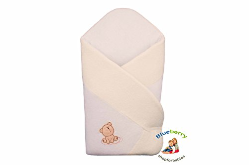 Blueberry Shop Warm Thermo Terry Newborn Baby Swaddle Wrap Blanket Duvet Sleeping Bag Snuggle Cream