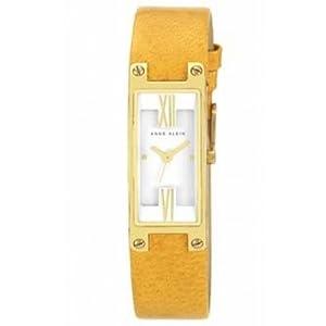 AK Anne Klein Women's AK-1138WTMS Yellow Leather Band Watch