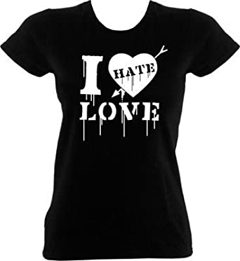 Anti-Valentines Day T-Shirt - I Hate Love Black Womens