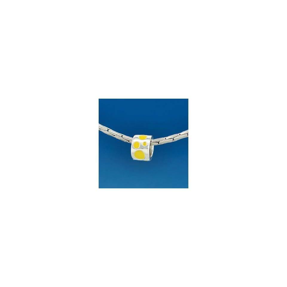 B1573 tlf   Yellow Polka Dots Band   Silver Plated Large Hole Bead