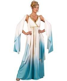 FunWorld Greek Goddess, CrÃ..me/Light Blue, Small/Medium 2-8 Costume