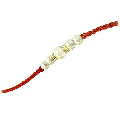 Surat Diamonds White Shell Pearl Rakhi for Brothers (SNSH4)