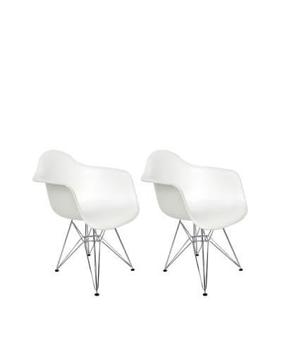 Euro Home Collection Set of 2 Dijon Arm Chairs, White/Chrome