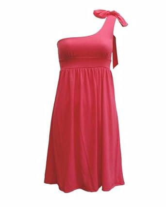 Ladies One Shoulder Ribbon Trimmed Dress Fuchsia Pink
