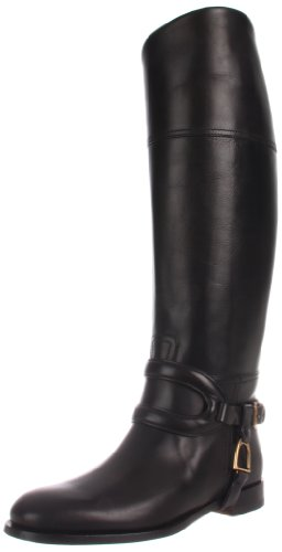 Ralph Lauren Collection Women's Sabella Riding Boot,Black High Polish Calf,9.5 B US