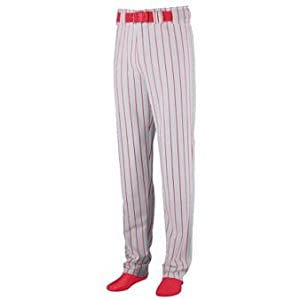 Striped Open Bottom Baseball Softball Pants - SMALL - RED & GREY by Augusta
