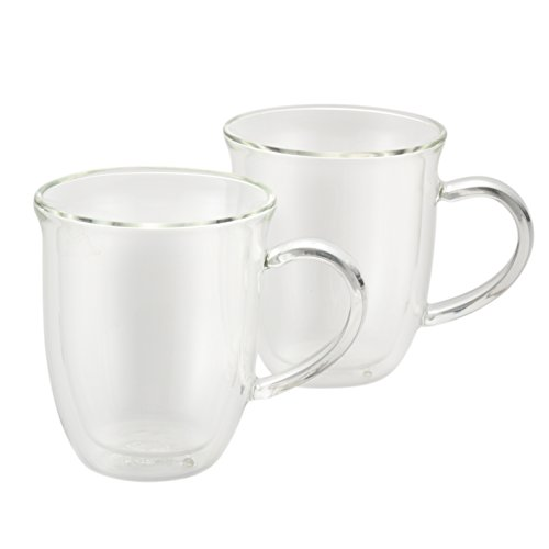 BonJour Coffee Insulated Borosilicate Glass Cappuccino Cups, 2-Piece Set, 8-Ounces Each (Cappuccino Cups 8 Oz compare prices)