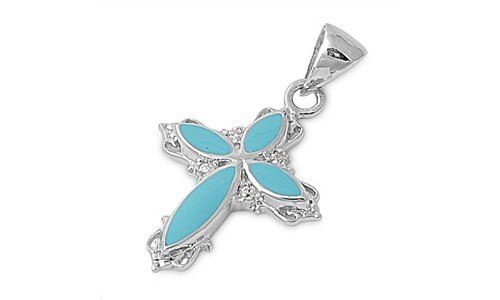 Sterling Silver Turquoise Clear CZ Cross Pendant Fashion Charm Pure 925 New 12mm with 1mm Ball Bead Chain 16 inch (CAP11651/2847-16)