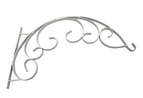 White Iron Flower Pot Plant Basket Wall Hanging Holder Rack Bracket (White Hanging Planter Bracket compare prices)
