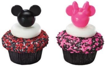 Mickey and Minnie Mouse Pink and Black Cupcake Picks - 24 ct
