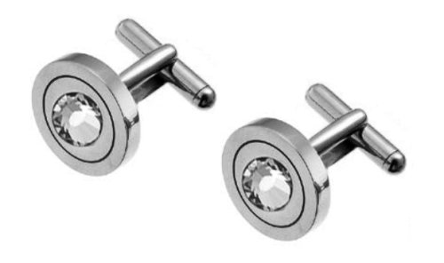 Men's Crystal Cufflinks, Stainless Steel, Model 702-001, by Oliver Weber