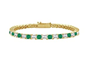 Emerald and Diamond Tennis Bracelet with 2.00 CT TGW on 14K Yellow Gold