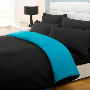6PC COMPLETE REVERSIBLE BLACK / TEAL DOUBLE DUVET COVER & FITTED SHEET BED SET by Viceroybedding