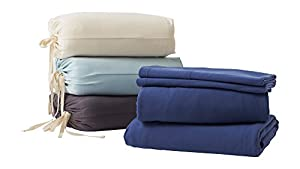 Organic Bedding Sets By Whisper Organics - GOTS Certified Organic - Ethically Made 300 Thread Count Soft Cotton Bed Sheets - Best Queen Sheet Set (Natural)