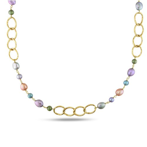 Goldtone Multicolored Pearl Oval Link Necklace (6-10 mm)