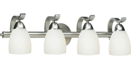 Nice The Features Forte Lighting Bath Vanity with Satin Opal Glass Shades Brushed Nickel