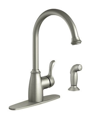 Moen 87313SRS Kitchen Faucet with Side Spray from the Finley Collection, Spot Resist Stainless