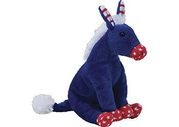Ty Beanie Babies 2.0 Lefty Patriotic Blue Donkey - 1