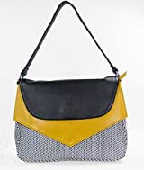 Jazzed Top Handle Large Handbag with Front Flap in Black and Yellow