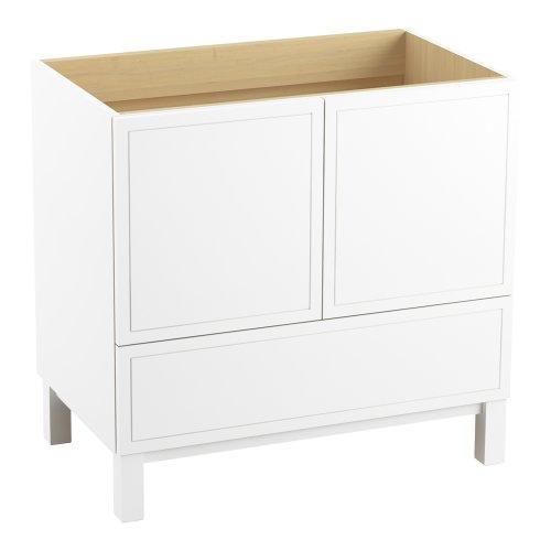 Kohler K-99506-Lg-1Wa Jacquard Vanity With Furniture Legs 2 Doors And 1 Drawer, 36-Inch, Linen White