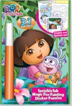 Dora the Explorer 3in1 Invisible Ink Magic Pen Painting and Sticker Book - 1