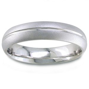 Men's 14k White Gold Sandblasted Comfort-Fit Wedding Band (5 mm)