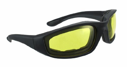 oakley night driving glass  night driving riding padded foam motorcycle glasses black frame with yellow lenses 011