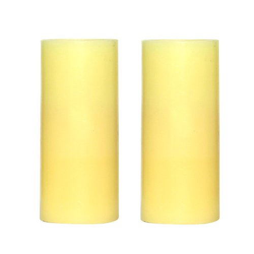 Dfl 1-3/4*4 Inch Smooth Flameless Real Wax Votive Led Pillar Candle,Work With 2 Aa Battery,Ivory,Pack Of 2