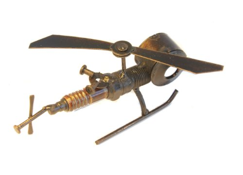 Recycled Tin Helicopter mini model made from Spark Plugs - Fair trade from Mexico