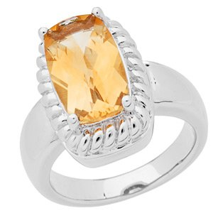 Citrine and 925 Sterling Silver Ring