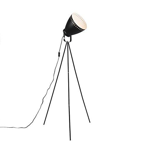 ETH Lampada da terra con tripode FL Karo - - Metallo - Nero - Tondo - adatto per LED - E27 - Max. 1 x 60 Watt