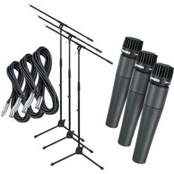 Shure Sm57 Lc Instrument Mic 3-Pack With Xlr Cables & Stands