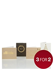 20 Cream & Gold Christmas Multipack of Cards