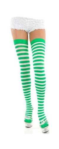 Green & White Striped Nylon-Poly Thigh Highs