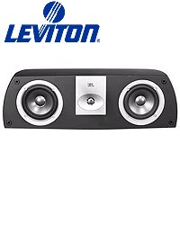 Leviton Aeccs-Vce Architectural Edition Powered By Jbl Dual 5-Inch Woofer Two-Way Shelf-Mount Center Channel Loud Speaker, Black