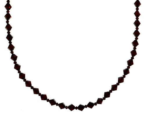 Sterling Silver Swarovski Elements 6mm and 3mm Siam Colored Bicones Necklace, 36