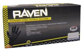 SAS Safety 66519 Raven Powder-Free Disposable Black Nitrile 6 Mil Gloves, Extra Large, 100 Gloves by Weight