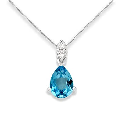Miore 9 ct White Gold 0.06 ct SI Diamond with Pendant Necklace