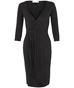 Material: Elastane /Jersey /Viscose  Occasion: Party Dress   Dress Length: Midi-Dress   Dress Silhouette: Shift   Neckline: V-Neck   Embellishments: Gathered  Pullover  Wrap   Size Category: Adult  Machine Wash