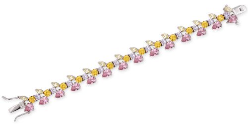 C.Z. Flower Multi Color Pink Sapphire Peridot Canary Amethyst Silver Bracelet (Nice Holiday Gift, Special Black Firday Sale)