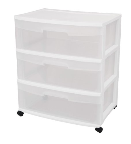 Sterilite Wide Cart 29308001, 3-Drawer, White