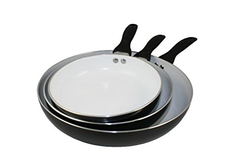 Concord Cookware CN300-B 3-Piece Eco Friendly Healthy Ceramic Nonstick Fry Pan Skillet Cookware Set, Black