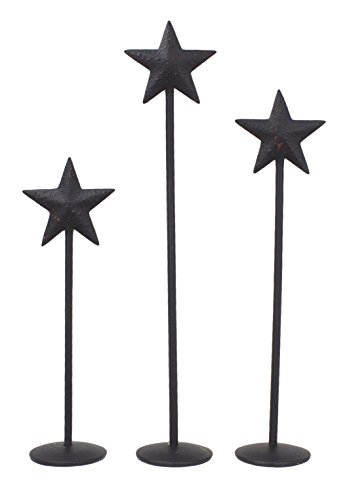 "Bitty Star Metal Pedestals Set of 3 - 4"", 5"" & 6"" (Black)"