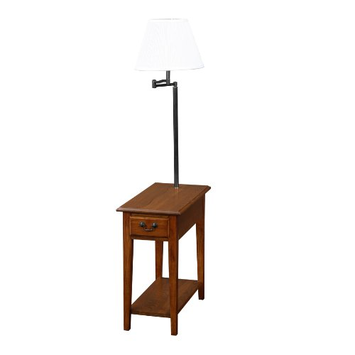 end side table with attached lamp with swingarm table has drawer i. Black Bedroom Furniture Sets. Home Design Ideas