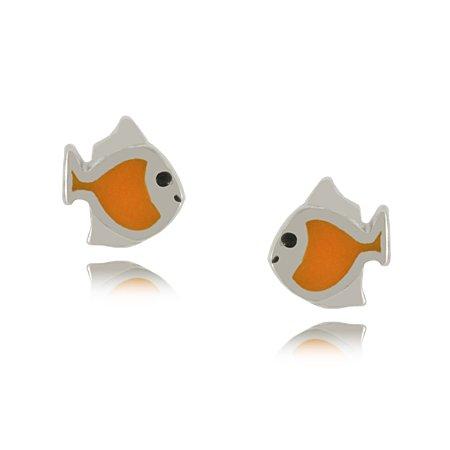 Goldfish Earrings in Sterling Silver with Enamel 5/16