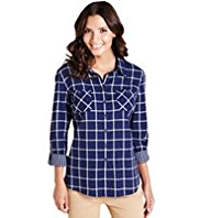 Pure Cotton Classic Collar Double Face Checked Shirt